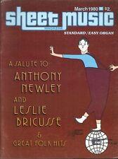 Sheet Music Magazine Mar 1980 Easy Organ Edition Anthony Newley Folk Tom Dooley