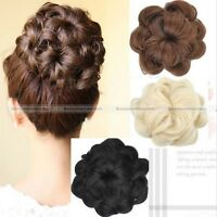 Fashion Drawstring Curly Wave hair Bun Clip In Hair Extension Hairpiece Wig S1
