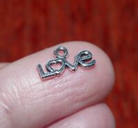 20pcs Tiny Love Word Charms for Bracelet Pendants for Jewelry Making Silver Tone