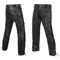 """DEFY Men's Motorbike Cow Leather Jeans Style Side Laces Nightclub Pant 28"""" - 46"""""""