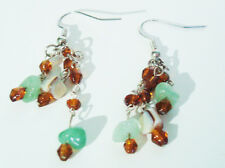 Aventurine Hanging Earrings with Brown Accent and Natural Shell Beads