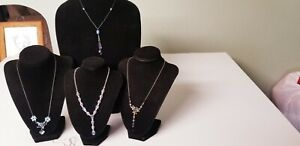Modern Blue Costume Small Chain Necklaces, Five Necklaces