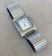 Lorou by Seiko Silver Womens Watch White Square Dial on Silver Stretch Band New!