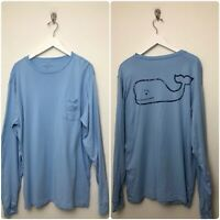 Mens Vineyard Vines Long Sleeve Whale T Shirt Size Medium Blue Cotton Logo
