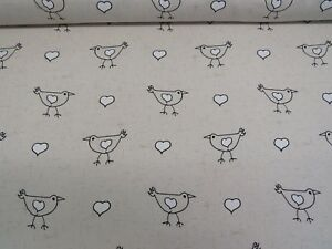 Birds Hearts Linen Look Beige Cotton Fabric Curtain Upholstery Quilting Crafts