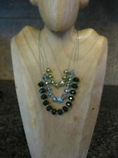 3 Strand Chain Necklace / Faceted Green & AB Glass Beads, Rhinestone Focal / NY