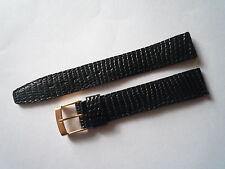 1 bracelet montre vintage cuir lézard noir E. MEERSON - 15mm