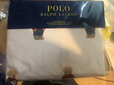 New Ralph Lauren Polo White Cotton Boy Teddy Bear 4 Pc Twin Sheet Set