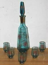 6-Piece Retro Drink Set: Glass Decanter with Stopper + 5x Tumblers, c.1970