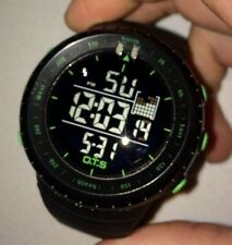 OTS Black Men Digital Quartz Watch Military Wrist Watch Backlight - Black/Green