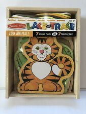 NWT Melissa & Doug Lace And Trace Zoo Animals 7 Choice Concentration Motor Skill