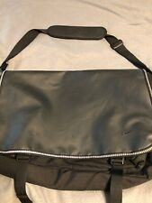 NIKE Black Faux Leather Laptop Table Book Bag Messenger Bag Organizer Cross Body