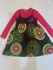 Girl's Size 7-8 Desigual Casual Dress Layered Look Gray Grey Pink Print L/S EUC