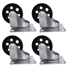"4pcs 3.5"" Heavy Duty Steel Plate Cast Iron Casters Swivel Metal Industrial Wheel"