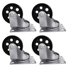 4pcs 35 Heavy Duty Steel Plate Cast Iron Casters Swivel Metal Industrial Wheel