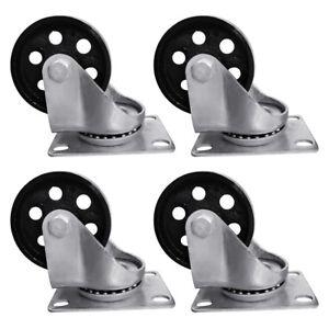 """4pcs 3.5"""" Heavy Duty Steel Plate Cast Iron Casters Swivel Metal Industrial Wheel"""
