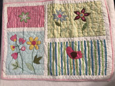 Pottery Barn Quilted Pillowcase Flowers Bird Garden Pink Green Embroidered