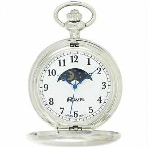 Ravel Polished Sun / Moon Pocket Watch Silver R1001.14