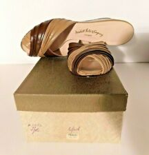 Vtg Marshall Field & Co. Retro Leather Open Toe Wedge Slippers 6 1/2 - 6.5 N NOS