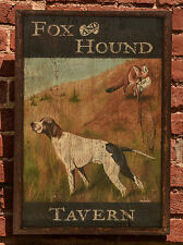 "Antique Look Repro of Original Art - Trade Sign ""Fox & Hound Tavern"" Hunt Dog"