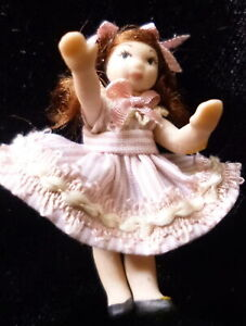 Vintage Artist Made 1:24 Scale GIRL DOLL Dollhouse Miniature