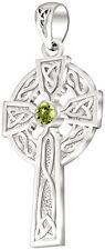 1.5in 0.925 Sterling Silver Celtic Knot Cross Peridot August Birthstone Pendant
