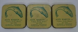 Alex Martin fishing tackle makers Tins quantity 3 collectable good condition