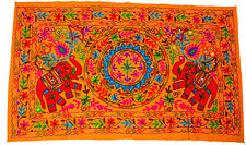 Indian Wall Hanging Cover Wool Elephant Embroidery Gypsy Throw Home Decor Yellow