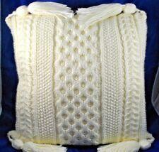 "Hand Knit Crochet Throw Bed Couch Pillow 15 x 15"" Tassels Cream Soft Beautiful"