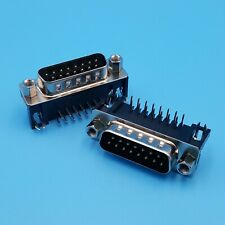 5Pcs DB15 Male Right Angle 2 Row 15Pin PCB Mount Solder Connector