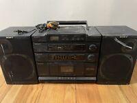 Vintage Sony Boombox CD Radio Cassette Recorder Used CD Radio One Speaker Works