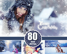 80 Snow Photoshop Overlays, Realistic Snowflakes, Christmas, Light, png file
