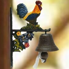 Cast Iron Rooster Door Bell Vintage Style Wall Mounted Metal Painted Home Decors