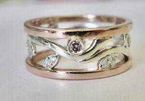 $9950 Stunning 9K Solid Gold Argyle Pink & White Diamond Ring