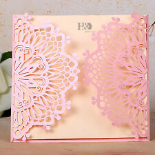 60pcs Wedding Invitation Cards Pink Laser Cut Hollow Invite Favors For Party