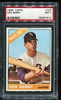 1966 Topps Baseball #127 KEN BERRY Chicago White Sox PSA 7 NM