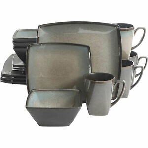 Gibson Elite 16 Piece Glazed Square Dinnerware Set with Plates, Bowls, and Mugs