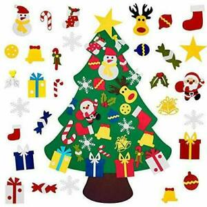DIY Felt Christmas Tree with 30pcs Ornaments, Stick on Tree with Lights