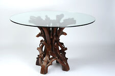 Wooden Dining Table Handmade/Hand Carved Rosewood Brown Timber & top glass #11
