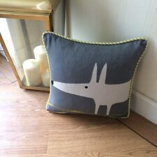 "SCION FABRIC MR FOX CHARCOAL & LIME :PIPED CUSHION COVER 12""x12"""