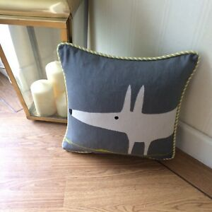 """SCION FABRIC MR FOX CHARCOAL & LIME :PIPED CUSHION COVER 12""""x12"""""""