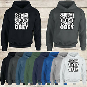 They Live Obey And Conform Consume Submit Text Stack #EG Mens Hoodies