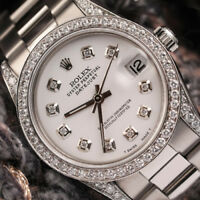 Rolex 31mm Datejust SS White Dial with Diamond Bezel & Shoulders Oyster Bracelet