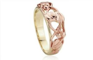 Clodau Tree Of Life 9ct Rose Gold Yellow Gold Ring RRP £660