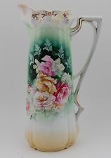 ANTIQUE RS PRUSSIA  HANDPAINTED ROSES TANKARD  PITCHER VASE