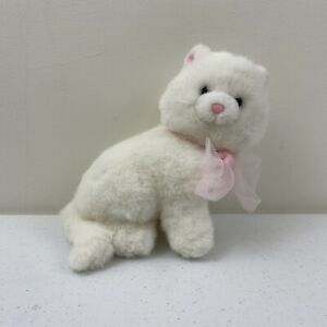 Russ Berrie White Cat Pink Bow Stuffed Animal Plush