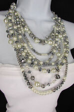 A Women Long Fashion Silver Necklace 7 Strands Imitation Gray Big Pearl Beads