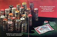 1967 332 Beer Brands Brewed in America Bottle Caps photo Budweiser Beer print ad