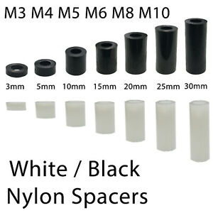 White / Black Nylon Spacers Standoff Washers Tought M3 - M10 Lengths: 2.5-30mm