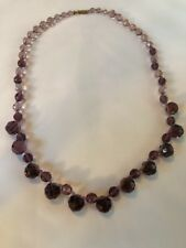 Miriam haskell Necklace Purple Glass Beads Signed 22 Inch